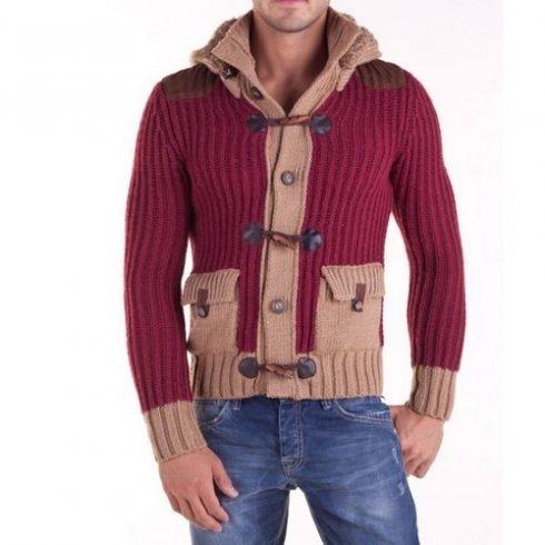 Cipo & Baxx divatos férfi kötött pulóver C6376BORDO