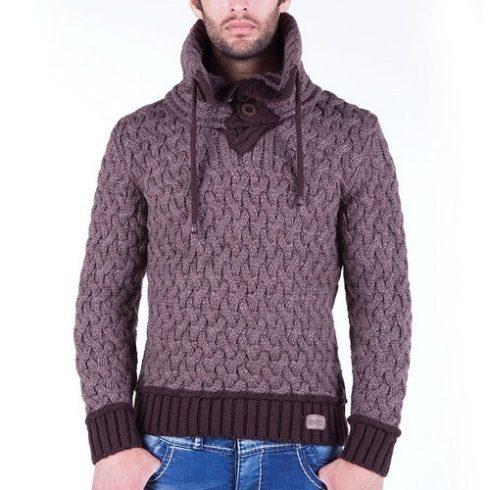 Cipo & Baxx divatos férfi kötött pulóver C6390BROWN