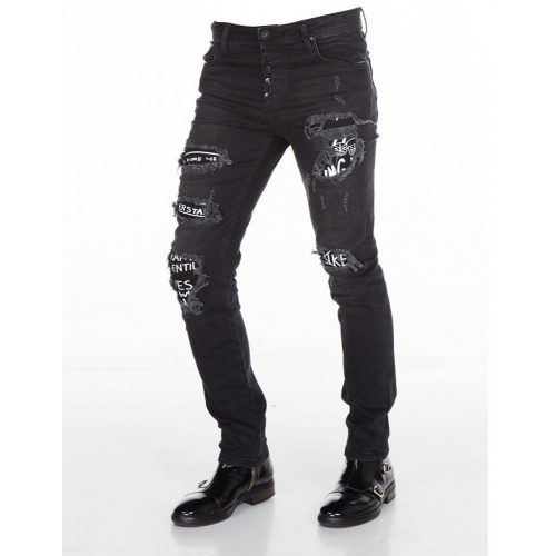 Cipo & Baxx abraded men's black denim pants CD417