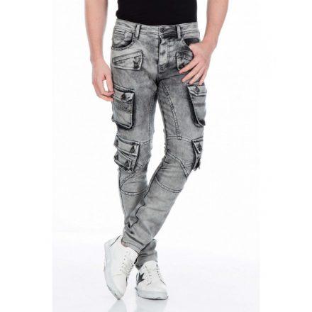 Cipo & Baxx fashionable gray men's Slim fit denim pants CD429