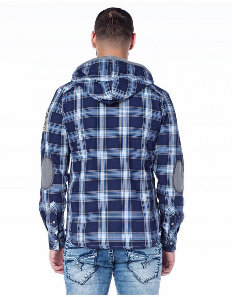 Cipo & Baxx férfi divatos kapucnis ing CH128 GREY Cipo