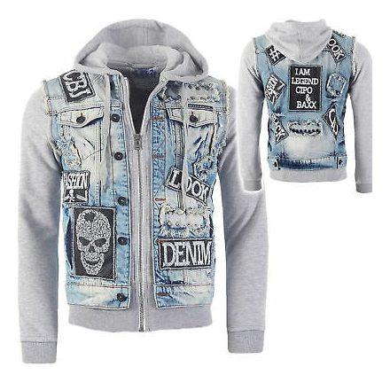 Cipo & Baxx men's fashionable denim jacket CJ158 BLUE