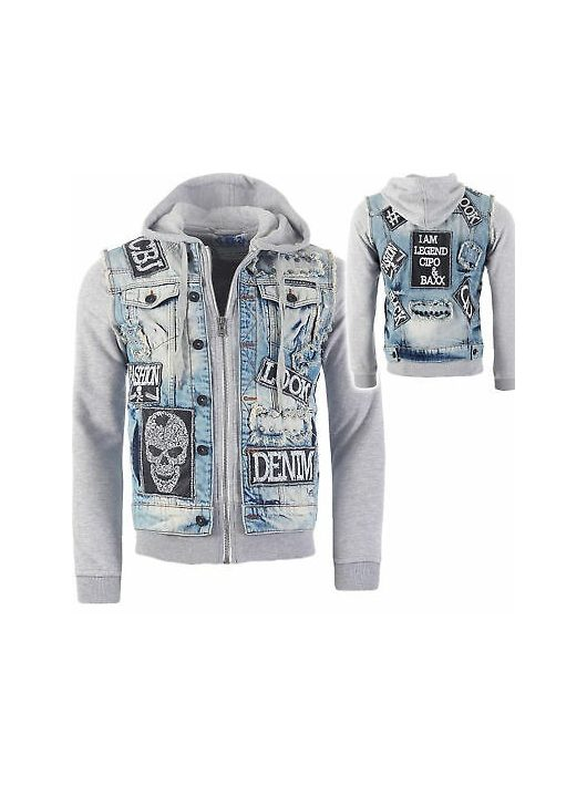 Cipo & Baxx férfi divatos farmerkabát CJ158 BLUE