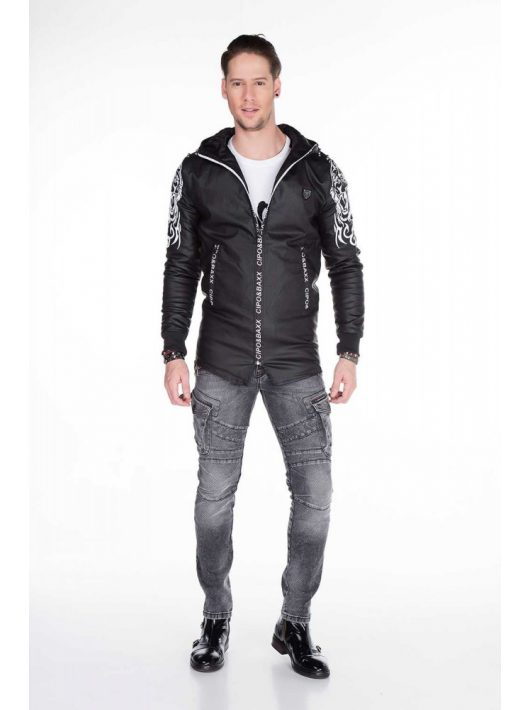 Cipo & Baxx divatos férfi kabát CJ187 BLACK