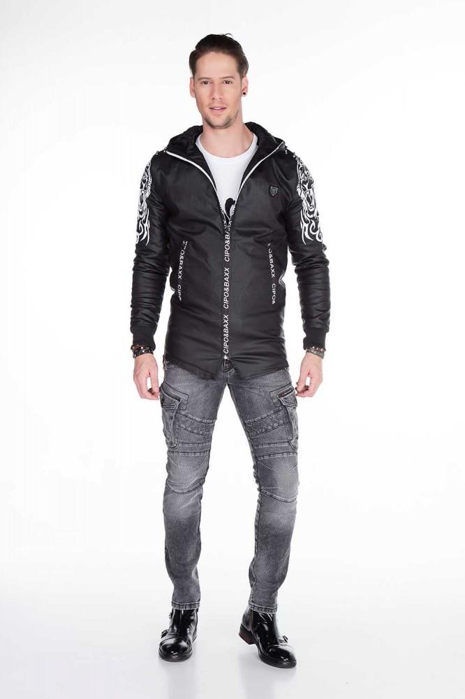 80a6af0ff7 Cipo & Baxx divatos férfi kabát CJ187 BLACK - Cipo & Baxx Márkabolt