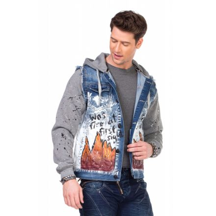 Cipo & Baxx divatos festett férfi farmerkabát CJ209BLUE