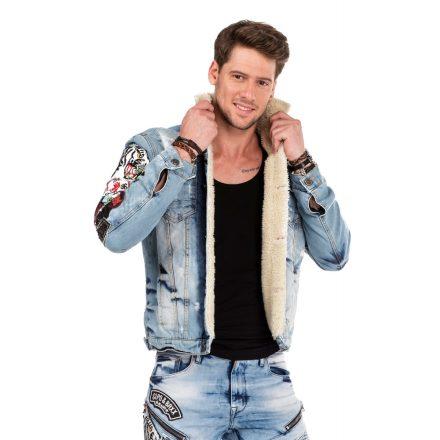 Cipo & Baxx winter denim jacket CJ227 BLUE