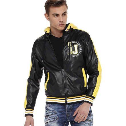 Cipo & Baxx divatos műbőr kabát CJ237BLACK