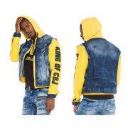 Cipo&Baxx divatos festett férfi farmerkabát CJ242BLUE