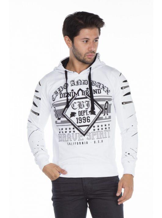 Cipo & Baxx divatos fehér pulóver