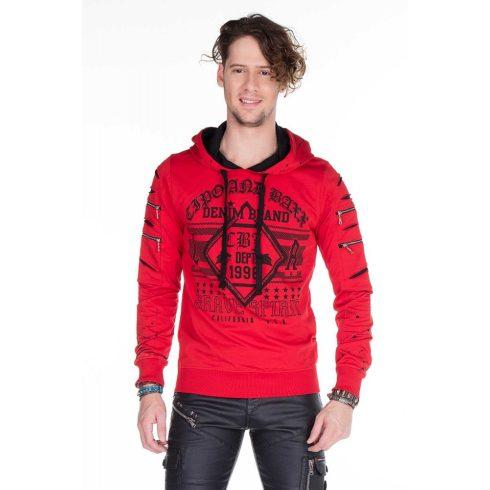 Cipo & Baxx divatos férfi kapucnis pulóver CL237 RED