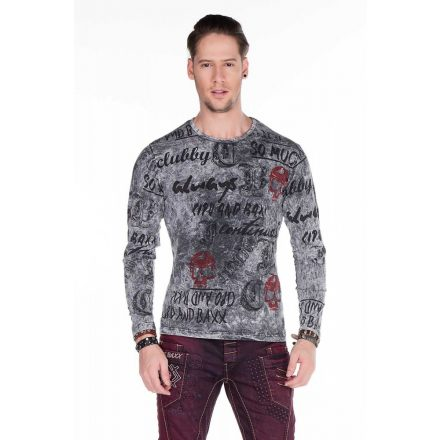 Cipo & Baxx fashionable anthracite men's longsleeve T-shirt