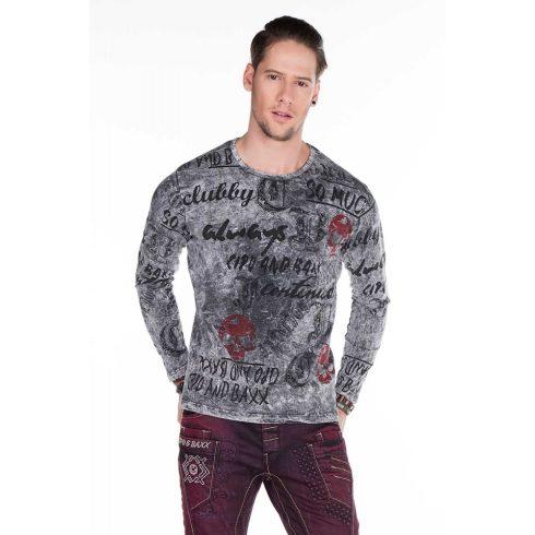 Cipo & Baxx divatos antracit férfi hosszú ujjú póló