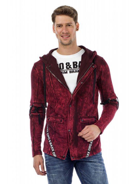 Cipo & Baxx divatos férfi kapucnis pulóver CL257BURGUNDY