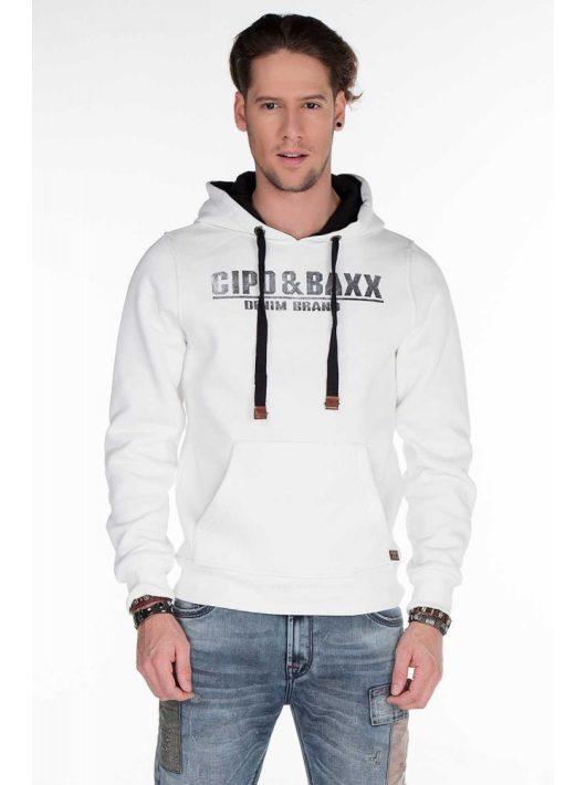 Cipo & Baxx törtfehér kapucnis pulóver