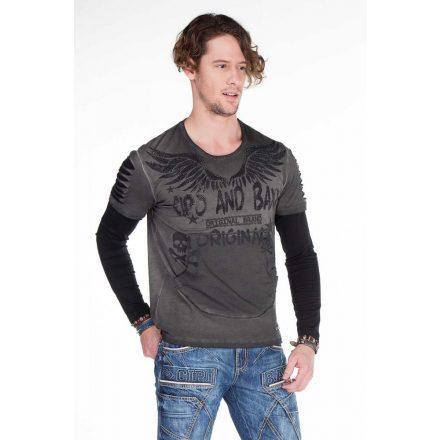 Cipo & Baxx divatos hosszú ujjú póló CL265ANTHRACITE