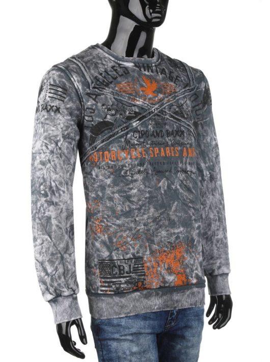 Cipo & Baxx antracit divatos férfi pulóver