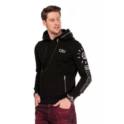 Cipo & Baxx divatos férfi kapucnis pulóver CL303_BLACK