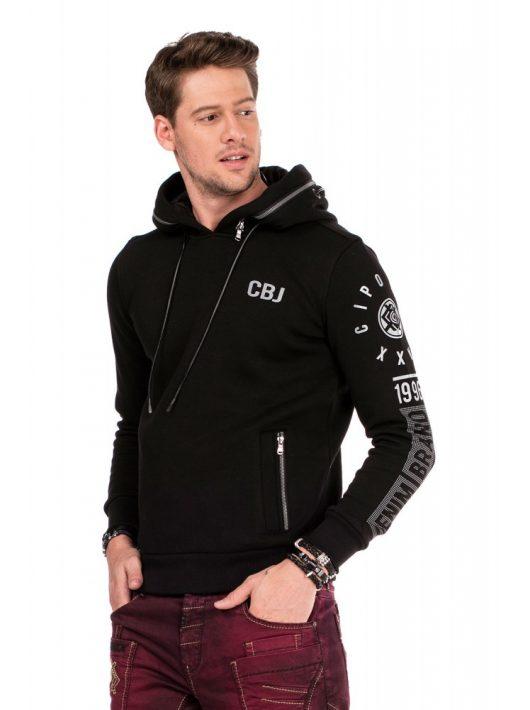 Cipo & Baxx divatos férfi kapucnis pulóver CL303 BLACK