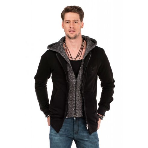 Cipo & Baxx divatos férfi kapucnis pulóver CL305 BLACK