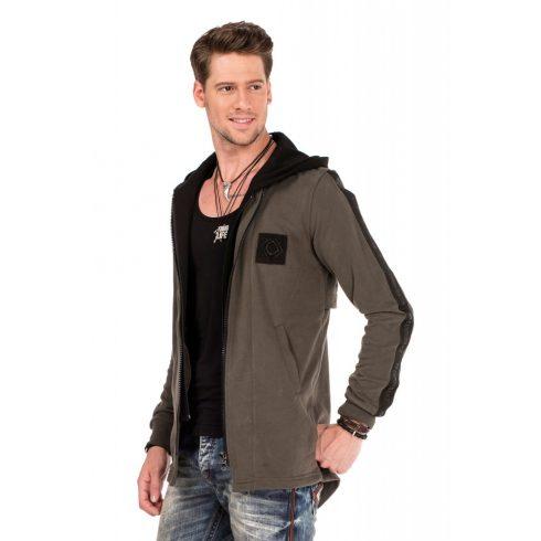 Cipo & Baxx divatos férfi kapucnis pulóver CL305 KHAKI