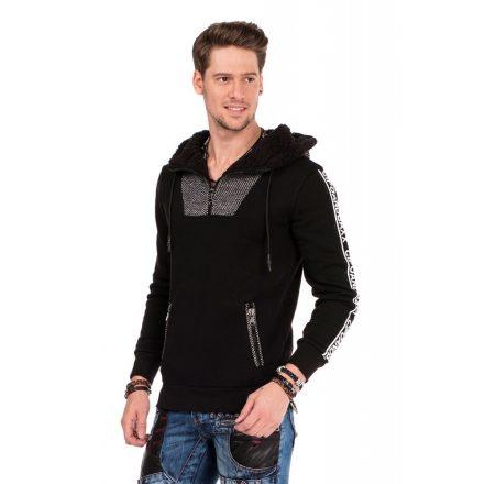 Cipo & Baxx divatos férfi kapucnis pulóver CL311 BLACK