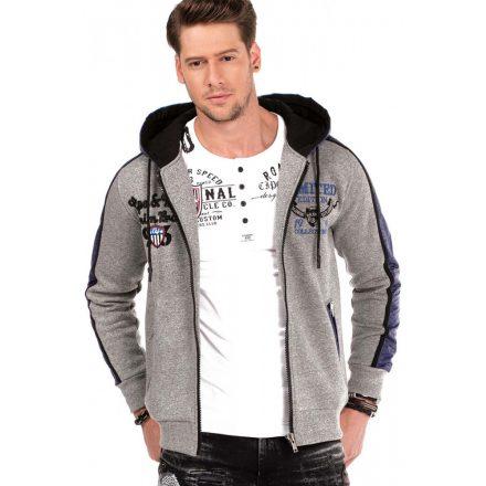 Cipo&Baxx divatos férfi kapucnis pulóver CL312GREYMELANGE