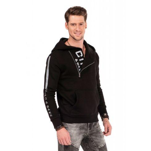 Cipo & Baxx divatos férfi kapucnis pulóver CL313_BLACK