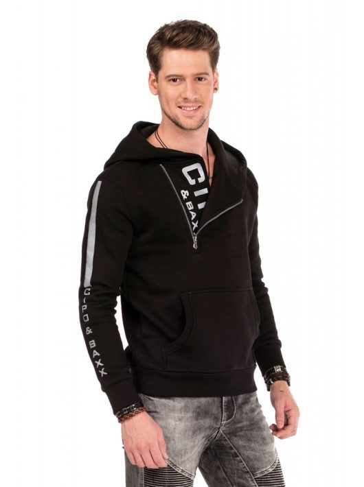 Cipo & Baxx divatos férfi kapucnis pulóver CL313 BLACK