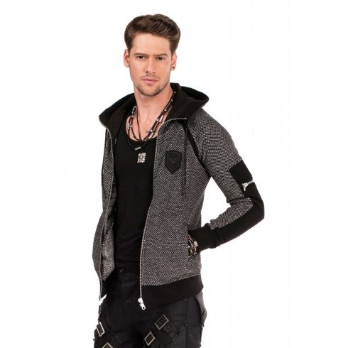 Cipo & Baxx divatos férfi kapucnis pulóver CL314_BLACK