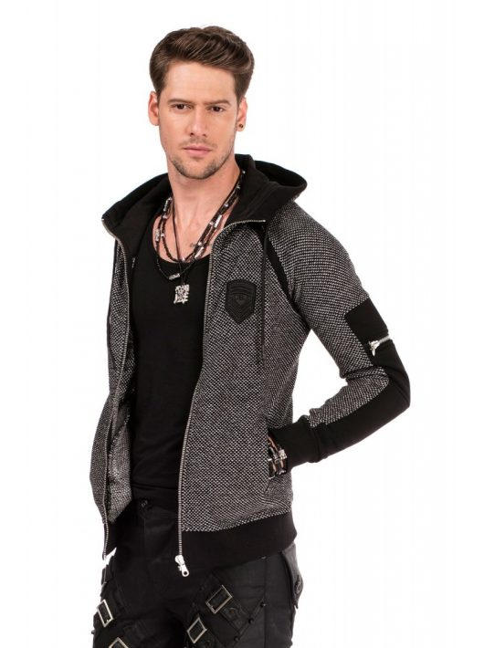 Cipo & Baxx divatos férfi kapucnis pulóver CL314 BLACK
