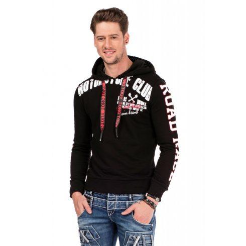Cipo & Baxx divatos férfi kapucnis pulóver CL321_BLACK