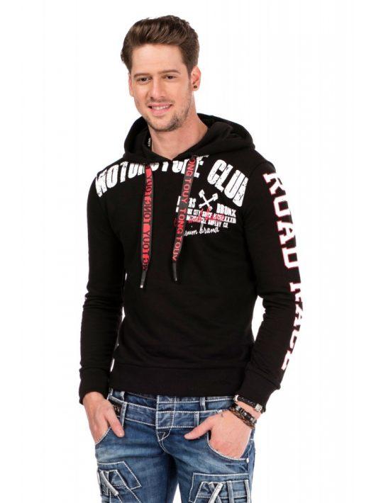 Cipo & Baxx divatos férfi kapucnis pulóver CL321 BLACK