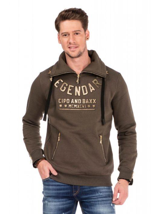 Cipo & Baxx divatos férfi kapucnis pulóver CL324 KHAKI