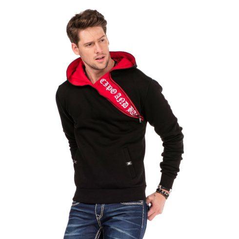 Cipo & Baxx divatos férfi kapucnis pulóver CL329_BLACK