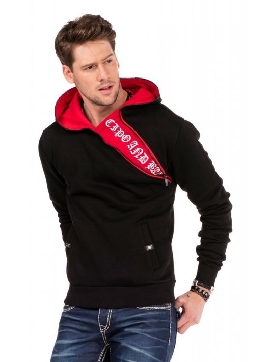 Cipo & Baxx divatos férfi kapucnis pulóver CL329 BLACK