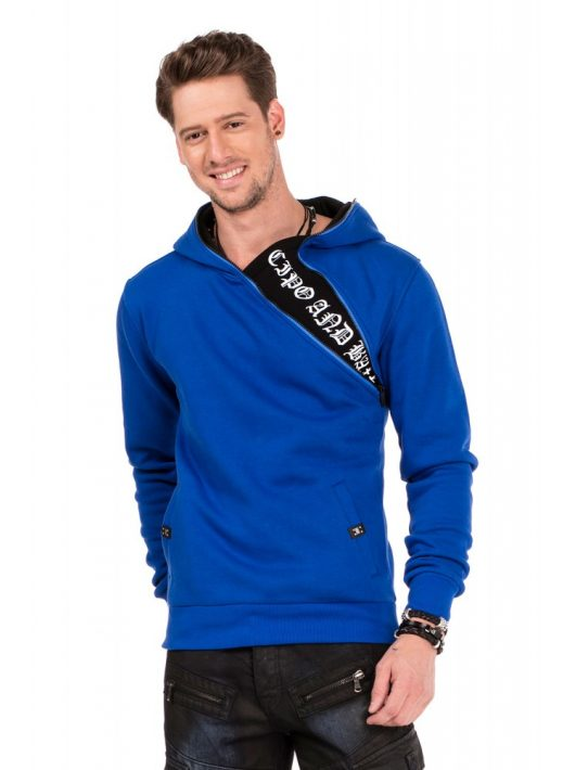 Cipo & Baxx divatos férfi kapucnis pulóver CL329 SAXE BLUE