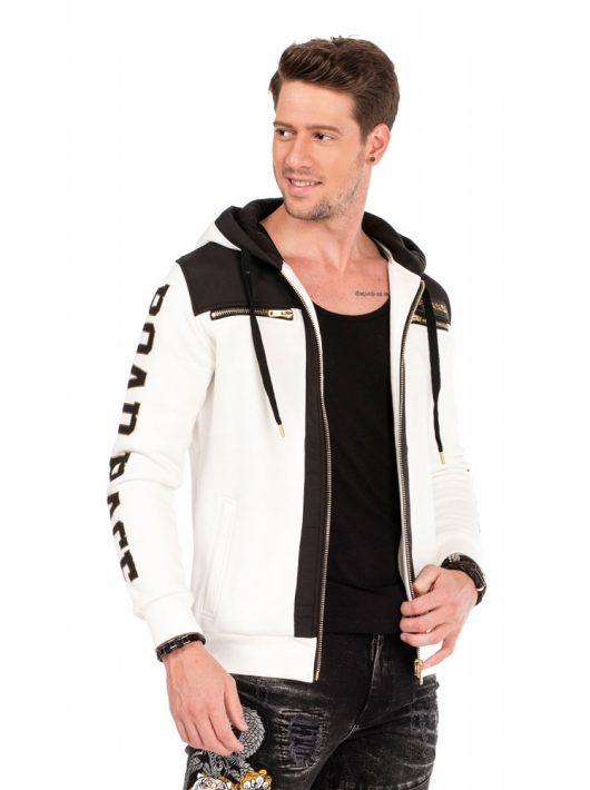 Cipo & Baxx divatos férfi kapucnis pulóver CL333 ECRU