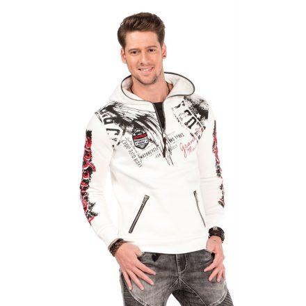 Cipo & Baxx divatos férfi kapucnis pulóver CL334 ECRU