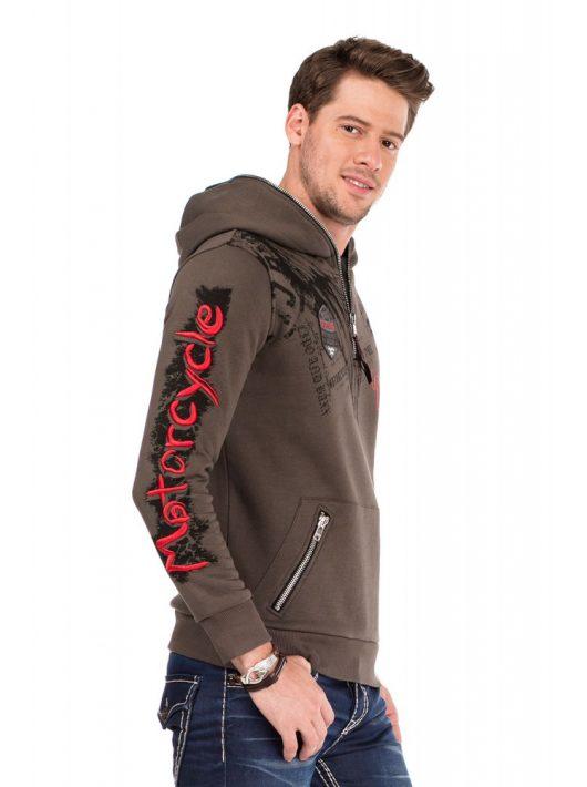 Cipo & Baxx divatos férfi kapucnis pulóver CL334 KHAKI