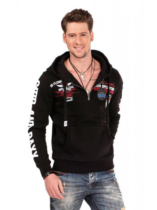 Cipo & Baxx divatos férfi kapucnis pulóver CL337 BLACK