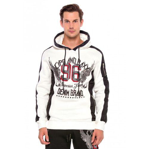 Cipo & Baxx férfi kapucnis pulóver CL358ECRU