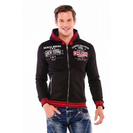 Cipo & Baxx divatos férfi kapucnis pulóver CL367BLACK