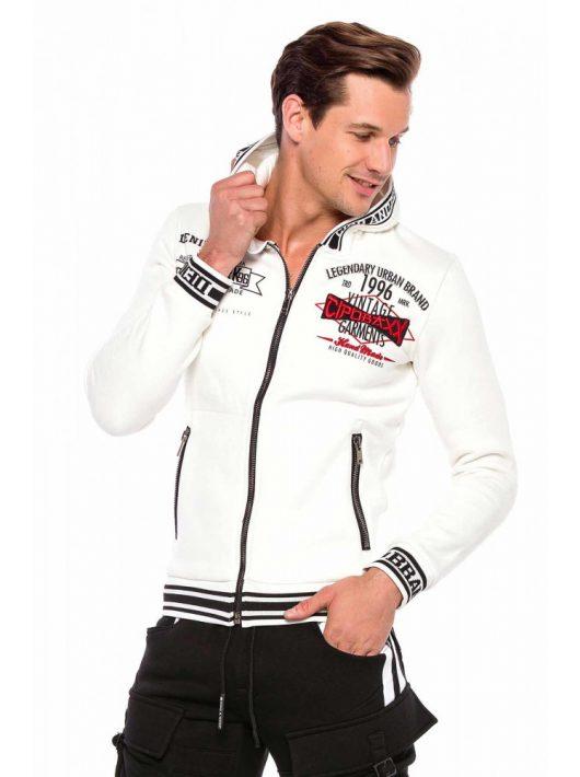 Cipo & Baxx divatos férfi kapucnis pulóver CL367ECRU