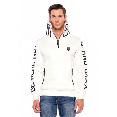 Cipo&Baxx divatos férfi kapucnis pulóver CL368ECRU