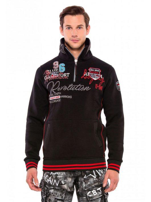 Cipo & Baxx divatos férfi pulóver CL377BLACK
