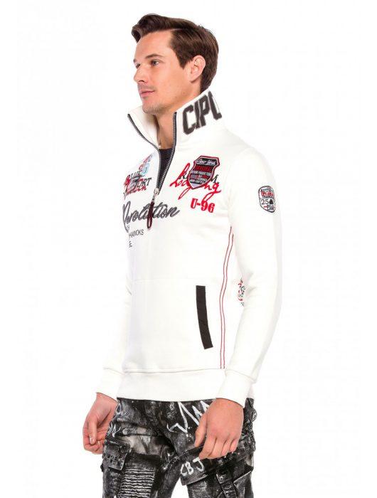 Cipo & Baxx divatos férfi pulóver CL377ECRU Cipo & Baxx