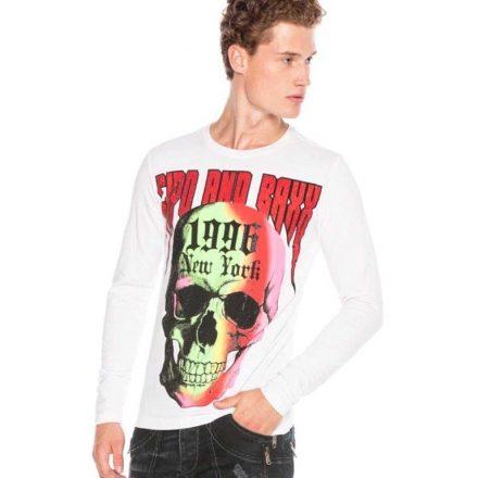 Cipo & baxx hosszú ujjú férfi póló CL406WHITE