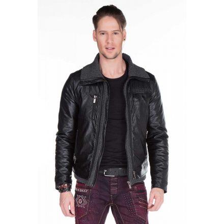 Cipo & Baxx divatos férfi műbőr kabát CM122 BLACK