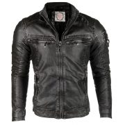 Cipo & Baxx fashionable black faux leather jacket CM124 BLACK
